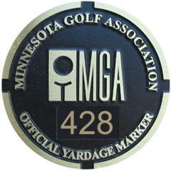 MGA Yardage Marker Insert - Front Engraved (Black/Gold)