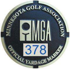 MGA Yardage Marker Insert - Reverse Engraved (Pumice/Blue)
